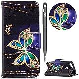 WIWJ Schutzhülle für Huawei P Smart Handyhülle Leather Case für Huawei Enjoy 7S Hülle[Messer Schnalle Gemalt Halterung Ledertasche]Hülle für Huawei P Smart/Huawei Enjoy 7S-Diamant großer Schmetterling
