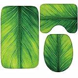 DIAN Frische Grüne Blätter Badematten Set 3tlg Absorbent Anti-Rutsch Flanell Pad Home Decor LAD-I, Small