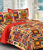 UniqChoice Red Color Rajasthani Traditional Printed 120 TC 100% Cotton Double Bedsheet with 2 Pillow Cover,UCB