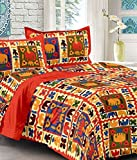#10: UniqChoice Jaipuri and Rajasthani Traditional 250 TC Cotton Double Bedsheet with 2 Pillow Covers - Orange