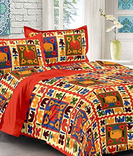 UniqChoice Printed 100% Cotton Rajasthani Traditional Print King Size Double Bedsheet With Zipped 2 Pillow Cover(MultiColor…..)