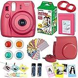 #3: FujiFilm Instax Mini 8 Instant Film Camera Raspberry + Instax Mini Film Twin Pack (20 Sheets) + PU leather Case + Frames + Album + 4 Color Filters + Selfie Mirro And More 9 in1 Top Accessories Bundle