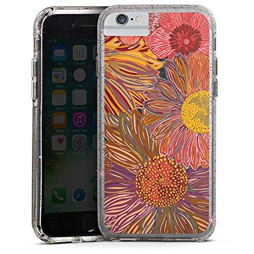 Apple iPhone X Bumper Hülle Bumper Case Glitzer Hülle Sonnenblume Red Rot Bumper Case Glitzer rose gold