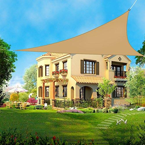 Greenbay Voile d'ombrage Triangulaire | 3x3x3m Sable | Une Protection des Rayons UV | Toile d'ombrage Auvent Pare-soleil de Jardin