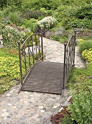 TWC WARENHANDEL PLUS Garten und mehr... Garten Brücke Deko Garten Gestaltung Vintage Style Metall - hochwertige Teichbrücke Zierbrücke als Garten Dekoration
