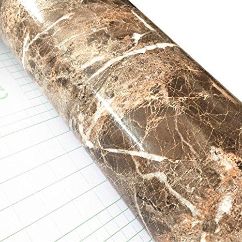 Braun Marmor-glas (WDragon Klebefolie, Abziehtapete, Muster: weiß-grauer Marmor, selbstklebend, glänzend, Vinyl, für die Küchentheke, Wandaufkleber - 61x 200cm braun)