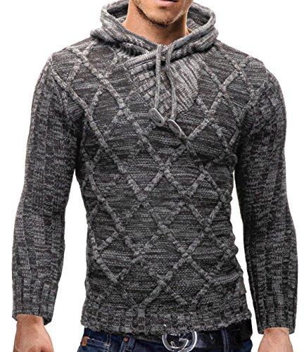 Merish Maglione lavorato a maglia uomo, con collo a scialle, morbido knit. Slim Fit, caldo e coccolone, vari colori, Sweatshirt 650 Grigio chiaro M