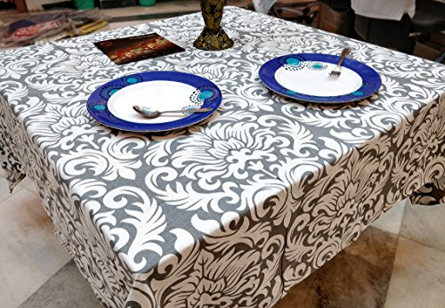 4 Seater Dining Table Cover Square Shape Tablecloth (Gray, Square 60