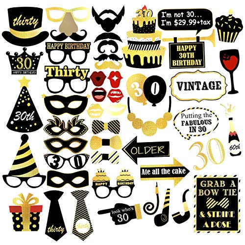 eea2990ba6ca Unomor 30th Birthday Photo Booth Props -- Gold and Black Birthday Party  Supplies for Her