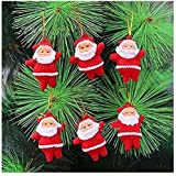 Indigo Creatives 2 Inch Height Santa Claus Pack Of 6 Pieces For Home/Office / Tree Christmas Decoration Topper Ornaments (Pack Of 6)