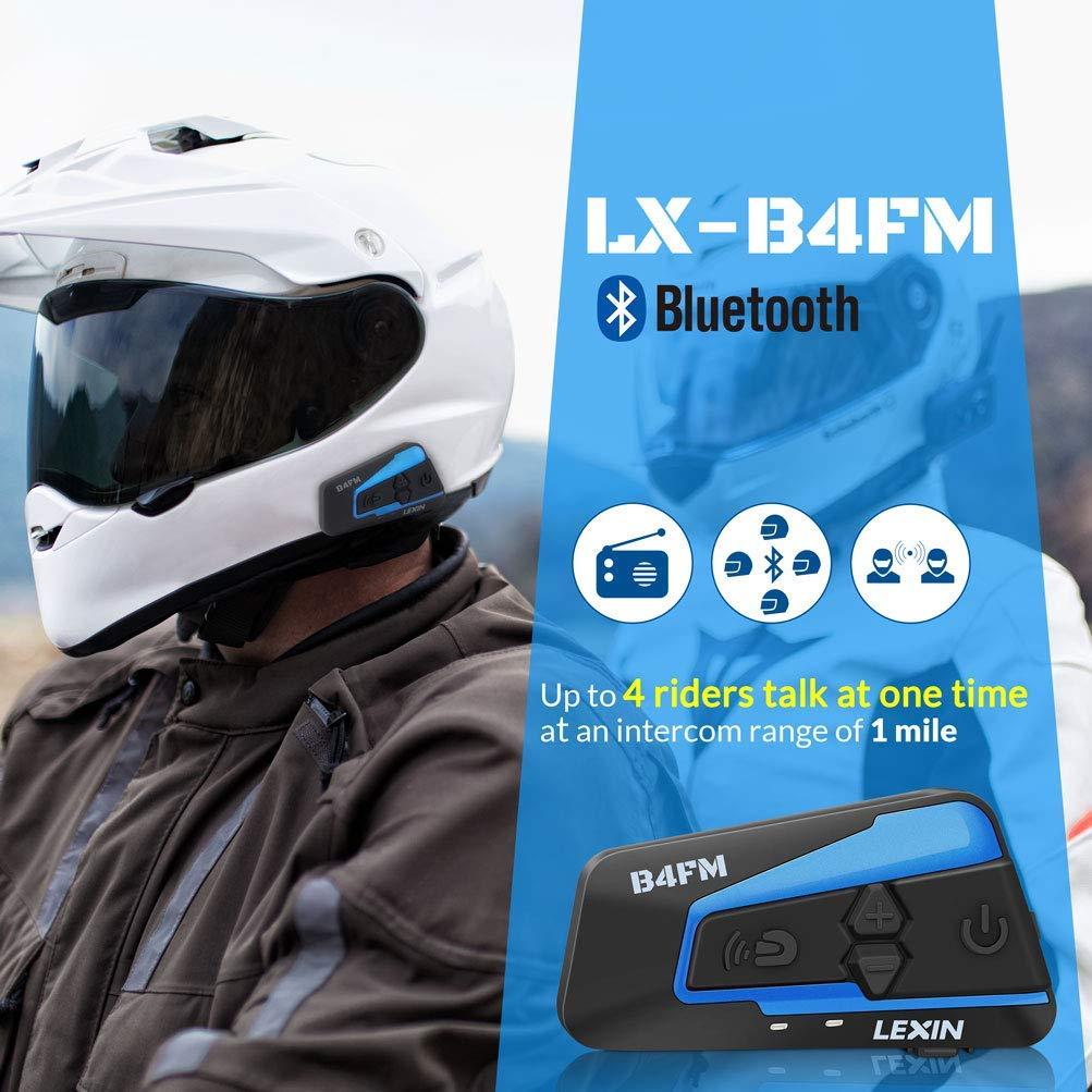 comunicazione Bluetooth per moto casco interfono bluetooth con cancellazione del rumore LEXIN LX-B4FM interfono moto moto auricolare bluetooth con FM interfono Bluetooth per moto fino a 4 riders