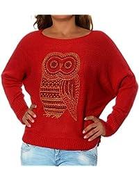 2172faa68c00 Diva-Jeans G698 Damen Winter Pullover Bluse Eule Pulli Strick Uhu Sweater  Shirt