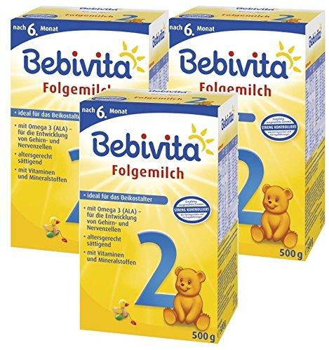 Bebivita 2 Folgemilch - ab dem 6. Monat, 3er Pack (3 x 500g)