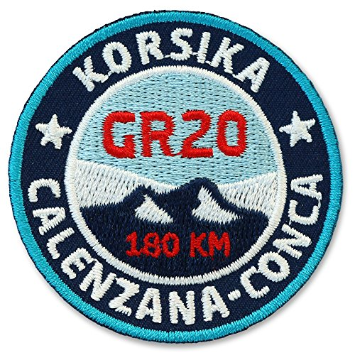 2 x Korsika GR20 Abzeichen 55 mm gestickt / Fern-Wanderweg GR-20 / Aufnäher Aufbügler Sticker Patch / Trekking Wandern Mare Monti Camping Wanderkarte Wanderführer Tourenführer Reiseführer Karte Buch