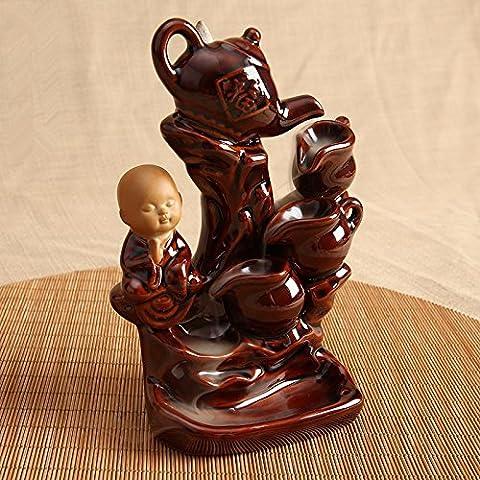 Keramik Rückfluss Räuchergefäß Räucherstäbchenhalter Home und Office Dekorationen, L 11,2* W 8* H 16,8cm