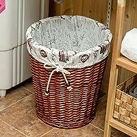 Hoobor House Non-Rattan Hotel Hotel Camere Bagno ammettere fornisce asciugamani in vimini accappatoi ammettere Basket,cofani scuro fodera,Medium27*35*38cm