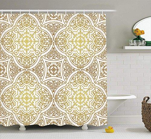Duschvorhang von viktorianischen Mandala Motiven gelockt klassischen ethnischen orientalischen Fliesen Umriss Stoff Badezimmer Dekor Set mit Gold gelb weiß ()
