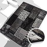 carpet city Teppich Modern Desinger 3D Handcarved Glanzfaser Acryl Glitzer Pralines Patchwork Grau Schwarz 80x300 cm