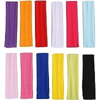 SULOLI 12 Pieces Fitness Sports Headbands Yoga Stretch Headbands for Women Girls