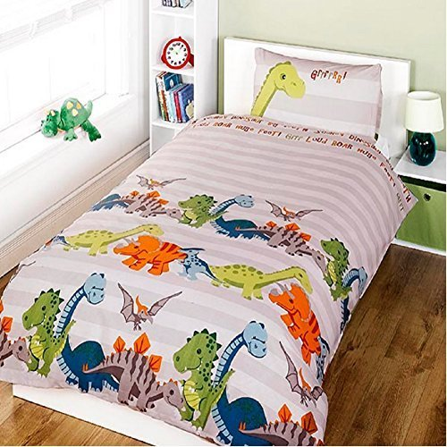 Dinosaur Natural Children's Rotary Single Duvet Quilt and Pillow Case Bedding Set by Generic Duvet Covers