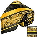 Paul Malone Gold schwarz gestreiftes Krawatten Set 100% Seidenkrawatte +Seiden-Einstecktuch