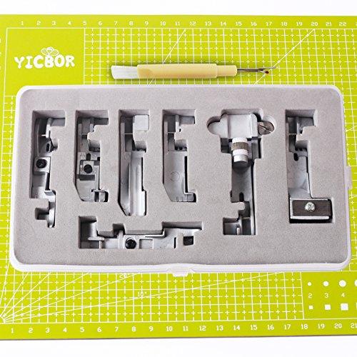 YICBOR – Juego de 7 prensatelas para máquinas de coser Singer 14CG754, 14SH654, 14SH754 y 14hd854, incluye un descosedor con cepillo de regalo