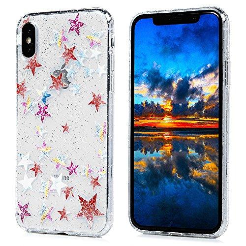 MAXFE.CO Schutzhülle Tasche Case für iPhone X TPU Silikon Cover Gemalt Muster Etui Protective Schale Bumper Herz Fünfeckiger Stern