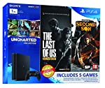 PS4 1 TB Slim with 3 free games. Includes 'Uncharted Collection', 'TLOU Remastred' and 'Infamous Second Son'.
