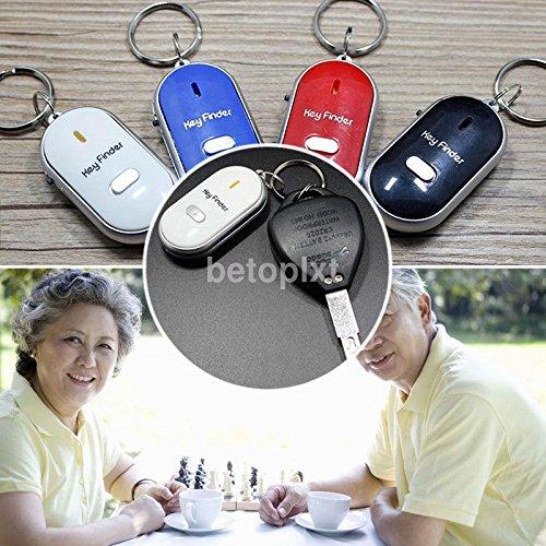 Homgaty 2LED Schlüsselfinder Schlüssel Finder Locator Finden Schlüsselanhänger Whistle Beep Sound Control Taschenlampe -