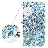 Spritech? 3D spooff diamante azul con brillanntes blancas y decorar Flor blanco piel, PT-1, Samsung Galaxy S4 Mini I9195