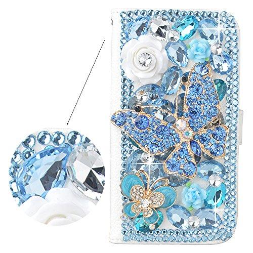 Preisvergleich Produktbild Spritech (TM) 3D Handmade Blue Diamond mit Kristall Strass Schmetterling weiße Blumen-Dekoration Design Weiß Leder-Mappe für Sony Xperia Z1 L39h