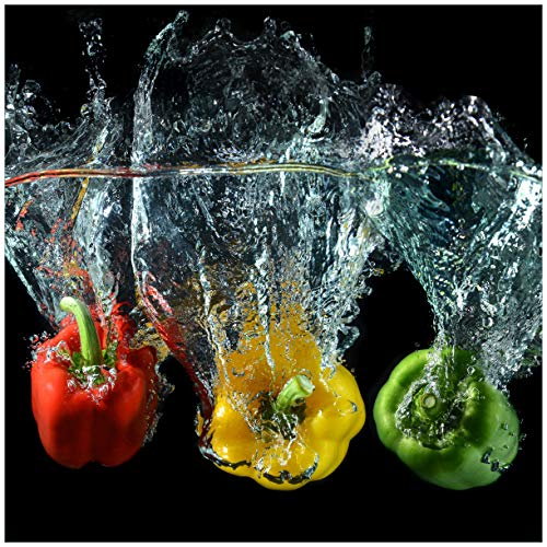 Wallario Magnet für Kühlschrank/Geschirrspüler, magnetisch haftende Folie - 60 x 60 cm, Motiv: Paprika-Mix - frische Paprika in rot, gelb und grün im Wasser