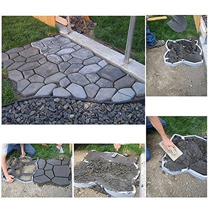 MCTECH DIY Pathmate Hormigón Forma Jardín Plástico Path Pavimento Cemento Ladrillo Molde para cemento, 3 pieza Patrones Aleatorios