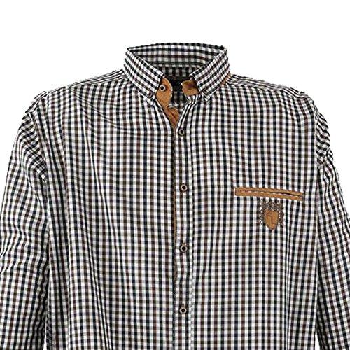 Lavecchia chemise à carreaux pour homme manches longues grande taille Noir