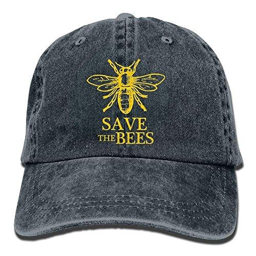 Hoswee Unisex Kappe/Baseballkappe, Save The Bees Adults Buckle Strap Denim Snapback Hat Sports Operator Cap