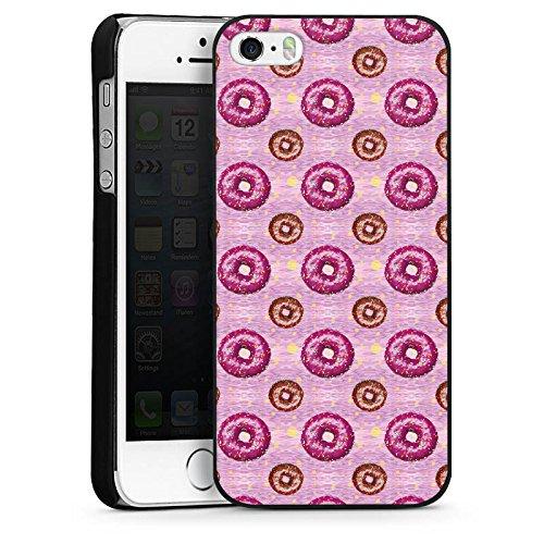 Apple iPhone 4 Housse Étui Silicone Coque Protection Donut party Rose vif Marron CasDur noir