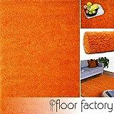 floor factory Hochflor Shaggy Teppich Colors orange 140x200cm - Pflegeleichter und günstiger Langflorteppich