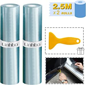 Linhbo 5 M Clear Car Protection Film 2 Rolls Of Transparent Paint Film With For Car Paint Protection Protection Against Stone Chips Scratches And Paint Damage Auto