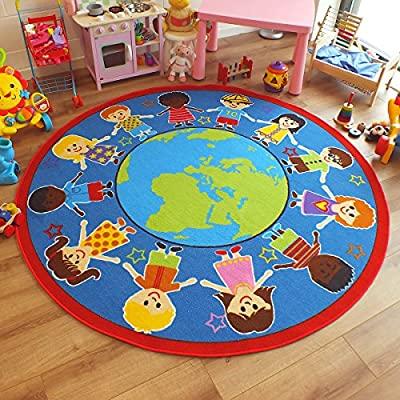 Superb Bright Kids / Childs Rug Children of The World Globe Large Round 2.0m x 2.0m (6'6 x 6'6 approx) - cheap UK light shop.