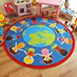 Superb Bright Kids / Childs Rug Children of The World Globe Large Round 2.0m x 2.0m (6'6 x 6'6 approx)