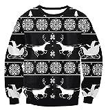 Shujin Winter Unisex Herren Damen Weihnachtspulli Weihnachtspullover Rundhals Langarmshirt mit Weihnachtsbaum Druck loose Jumper Sweatshirt Oberteile