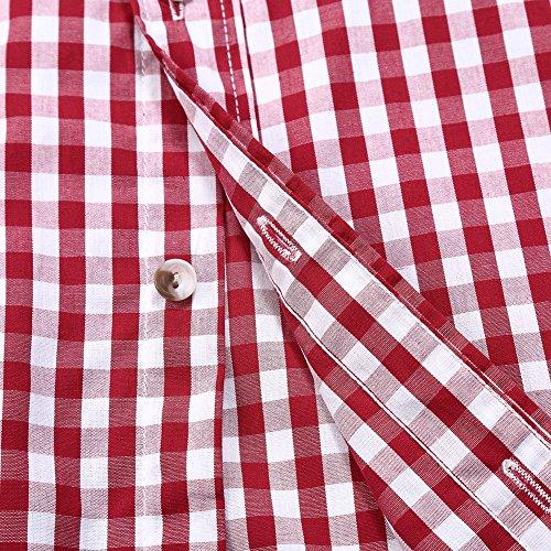 KoJooin TRACHTEN Herren Hemd Trachtenhemd Langarmhemd Freizeithemd Baumwolle - für Oktoberfest, Business, Freizeit (Rot XL) - 6