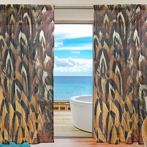 yibaihe Sheer Lang Fenster Vorhang Panels Fashion Schöne Einrichtung Animal Print 140W x 213 L cm Set von 2Für Wohnzimmer Schlafzimmer Küche Fenster