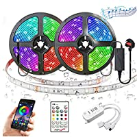 Powcan LED Strip Lights with Remote 33ft(10m) Long 300Leds SMD 5050 Dimmable Light Strip Kit IP65 Waterproof 12V RGB Color Changing Rope Lighting Smart Sync with Music for TV Bar Party Outdoor