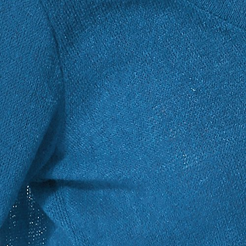 Yidarton Col V Tricot Femme Chandail Casual Manches Longues Lâche Lrrégulier Pulls Sexy Pull-over Bleu