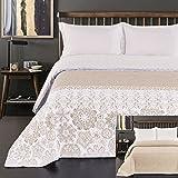 DecoKing Tagesdecke 260 x 280 cm beige weiß cappuccino Bettüberwurf mit abstraktem Muster zweiseitig pflegeleicht Alhambra