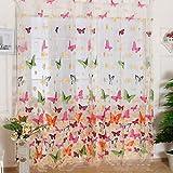 Tende di schermatura per finestra, finestra a golfo, bagno, doccia, divisorio, a drappo, motivo floreale con grandi farfalle in tulle voile (99x 198cm/pannello), 2pannelli