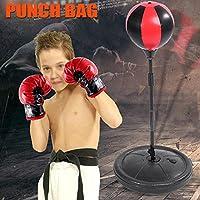 Pera de Velocidad para Niños Juego de boxeo con Guantes y Soporte Ajustable Altura 70 - 105 cm Negro y Rojo