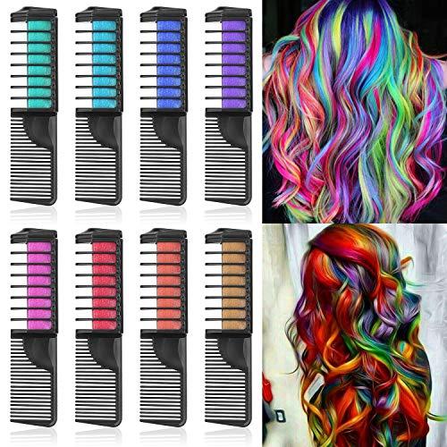 Lictin Haarkreide Kamm Haarfarbe Kreide Kamm Haarkreide Kinder Auswaschbar 8 Farben Hair Chalk für Halloween Karneval Party Cosplay mit 2pcs Handschuhe 2pcs Friseurumhang