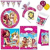 MIA AND ME Partyset Becher Teller Servietten Tüten Einladungen Dekoration 65 Teile für 6 Kinder